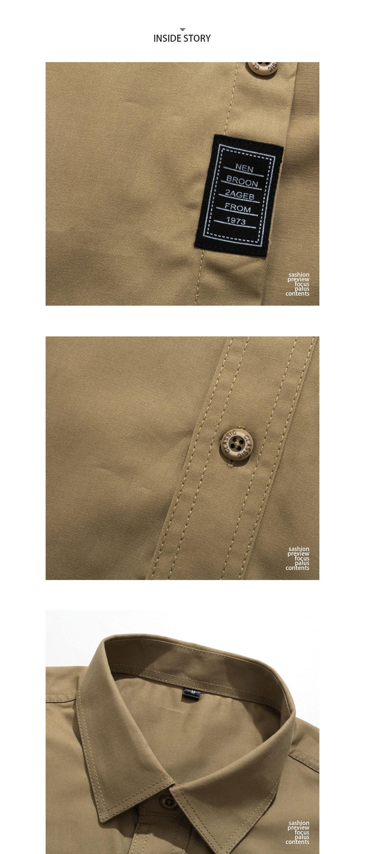 率性翻領 皮標長袖襯衫