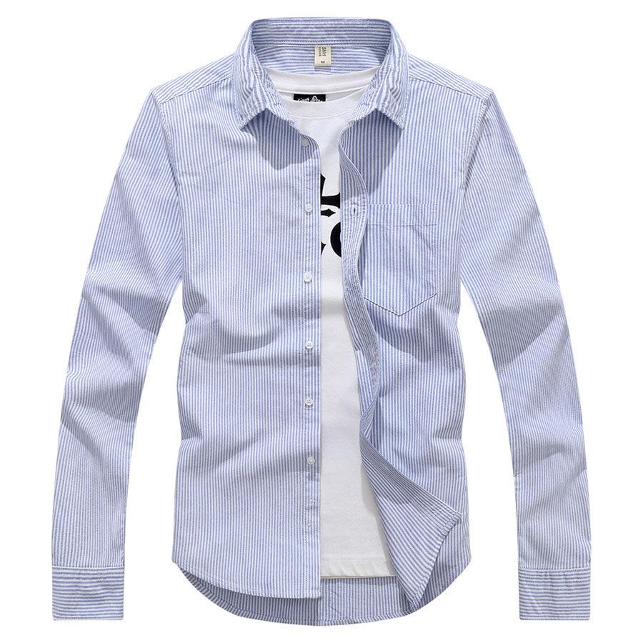簡約條紋棉質長袖襯衫,,,01130667,簡約條紋棉質長袖襯衫,