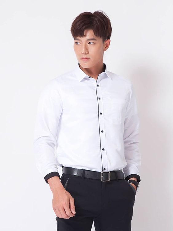 設計感滾邊 純色長袖襯衫,,,01130668,設計感滾邊純色長袖襯衫,