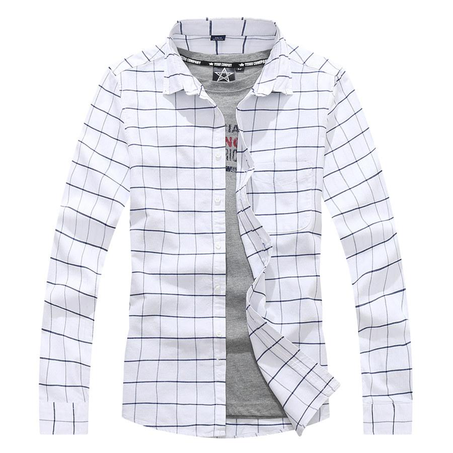 簡約百搭大方格長袖襯衫,,,01130670,簡約百搭大方格長袖襯衫,