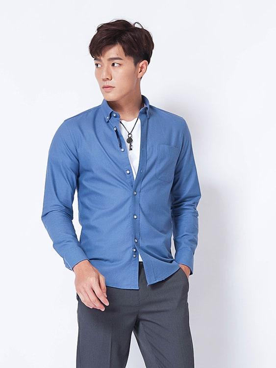 質感翻領素色長袖襯衫
