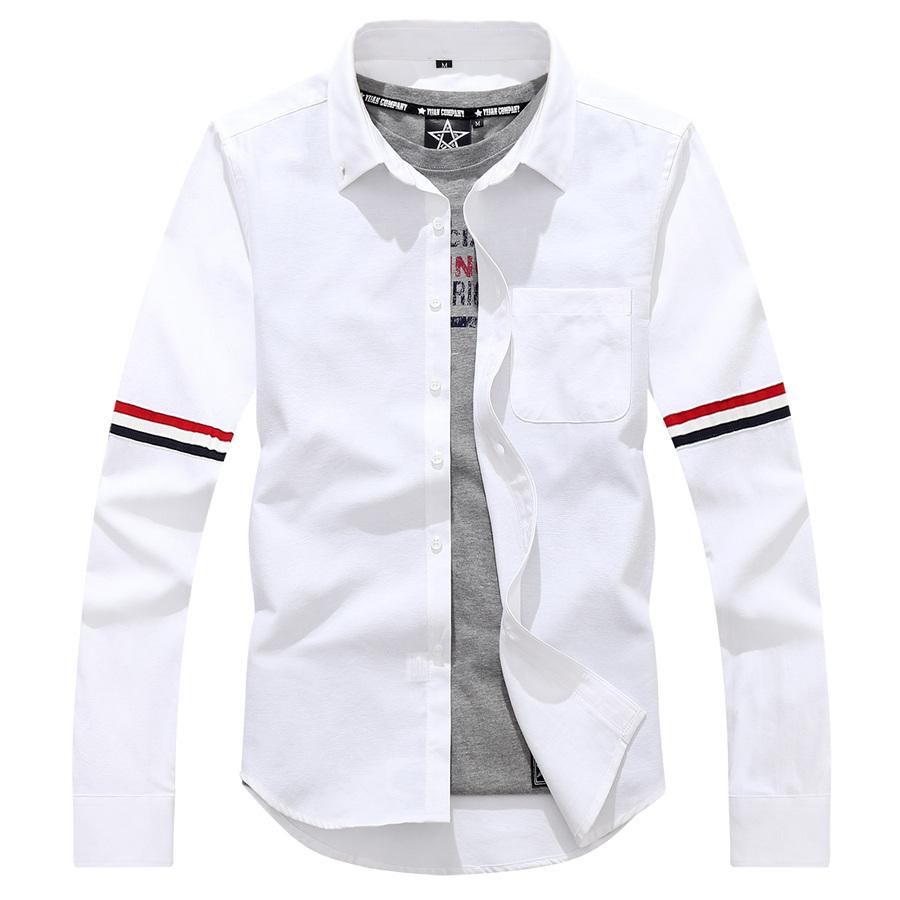 雙色設計袖棉質長袖襯衫,,,01130672,雙色設計袖棉質長袖襯衫,