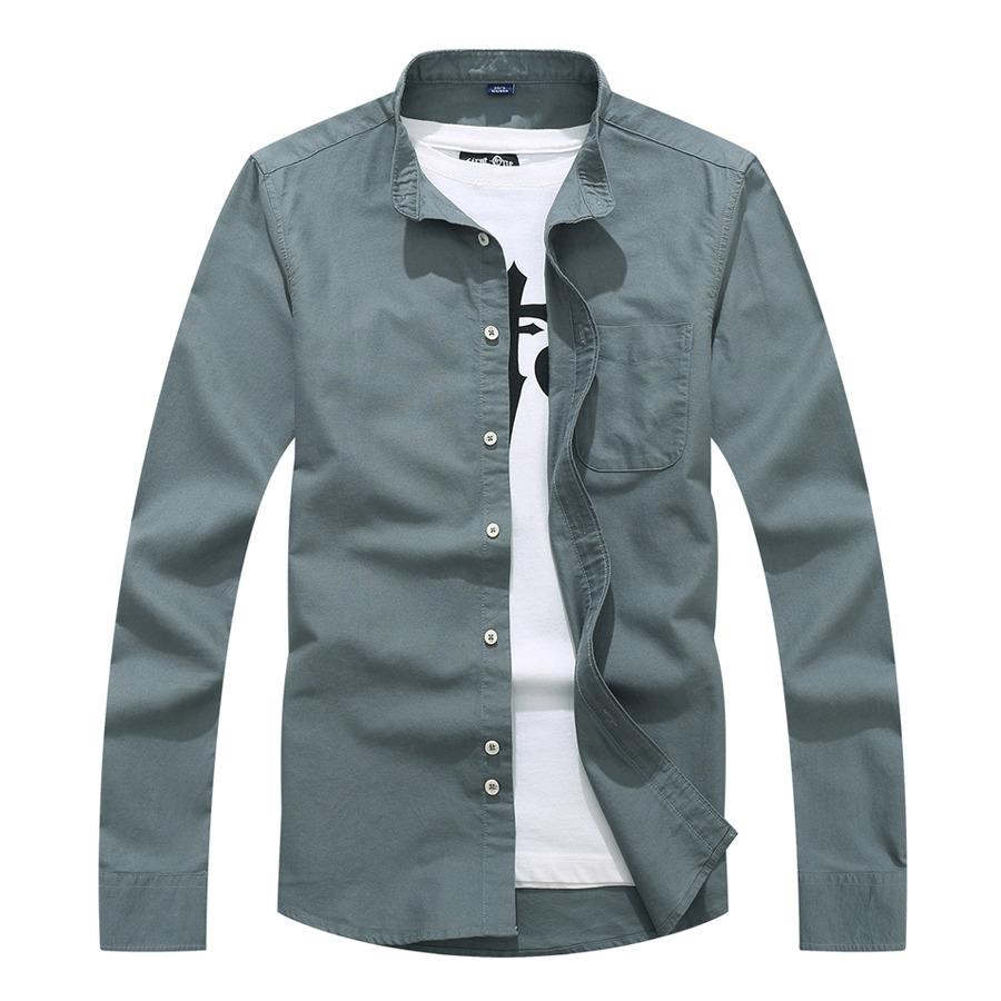 牛津紡立領素色長袖襯衫,,,01130673,牛津紡立領素色長袖襯衫,