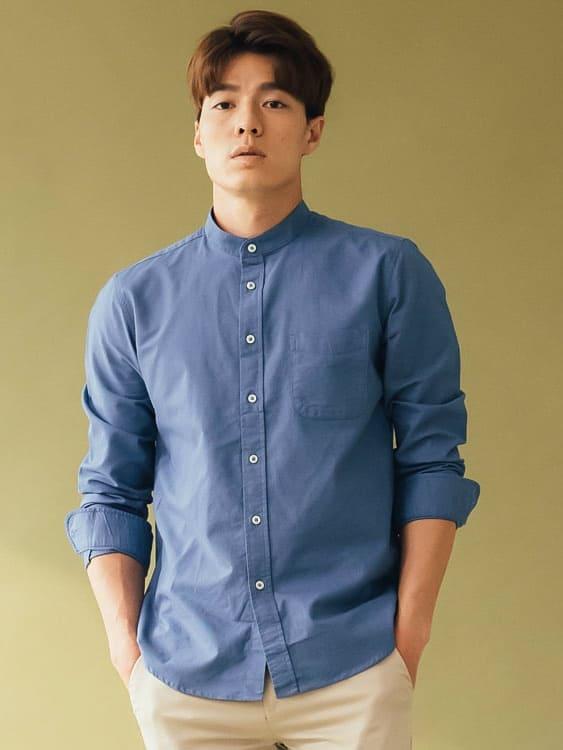 韓版質感 商務休閒小立領襯衫