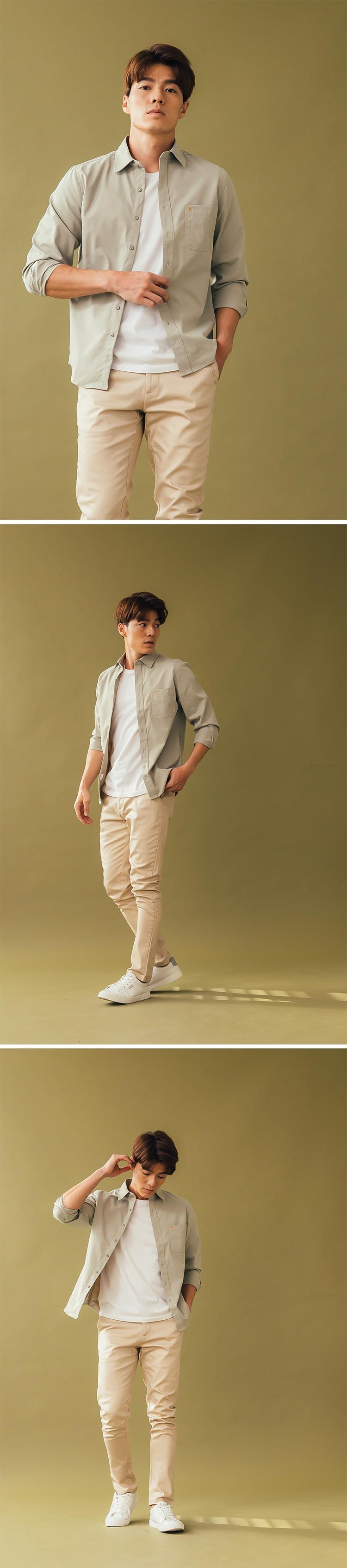 簡約無印風 精緻電繡口袋襯衫