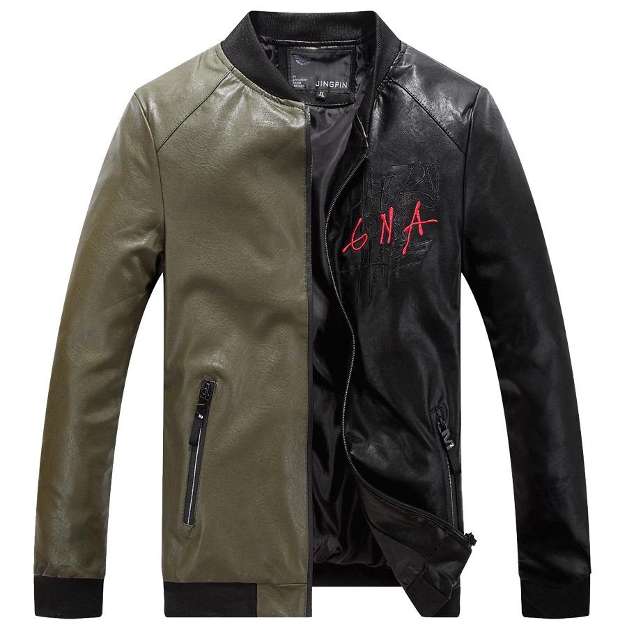 大膽撞色分割.電繡皮革外套,,,02010072,大膽撞色分割.電繡皮革外套,