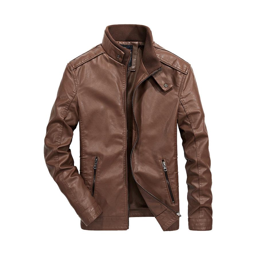 秋冬時尚單品.素色立領釦皮革外套,,,02010076,秋冬時尚單品.素色立領釦皮革外套,