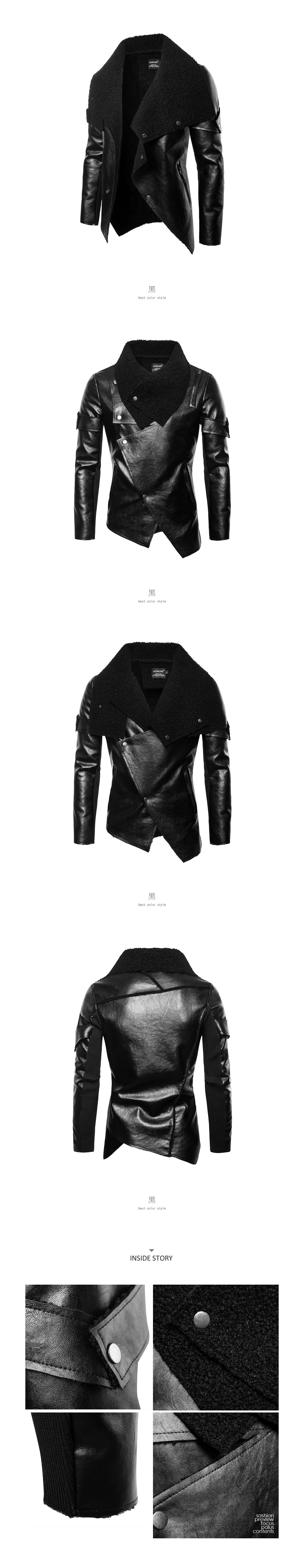 【季末出清】DARK ROCK.短絨大翻領設計皮革大衣外套