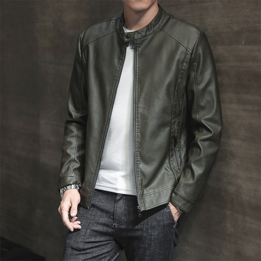 簡約風格單品.圓領設計微絨皮革外套,,,02010085,簡約風格單品.圓領設計微絨皮革外套,