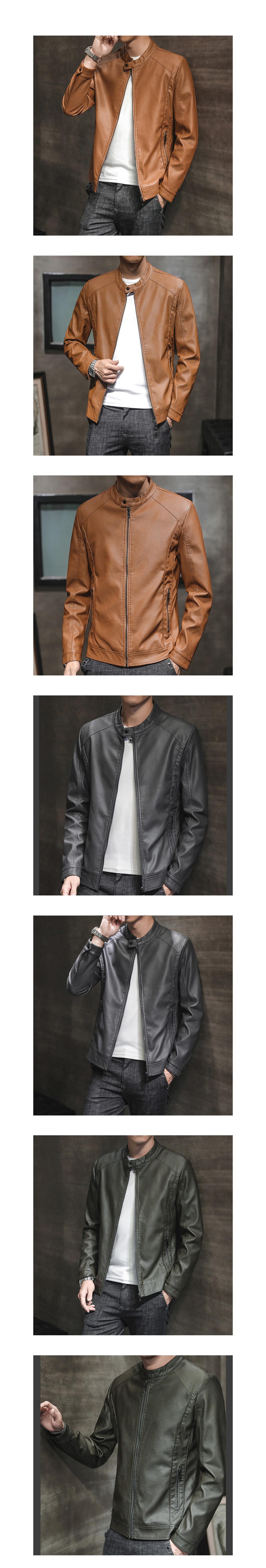 簡約風格單品.圓領設計微絨皮革外套