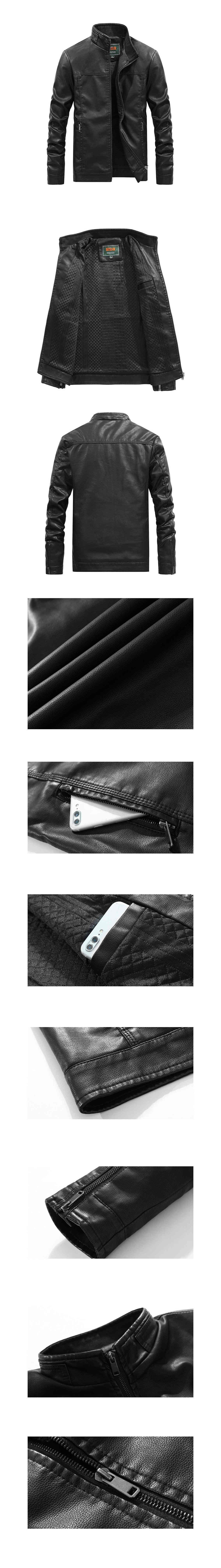 騎士風格單品.內加絨立領皮衣外套