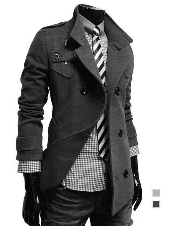 西裝必備單品.小立領雙排釦長版毛呢外套