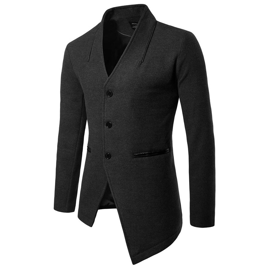 德古拉的衣裝.不對稱下擺設計毛尼大衣外套