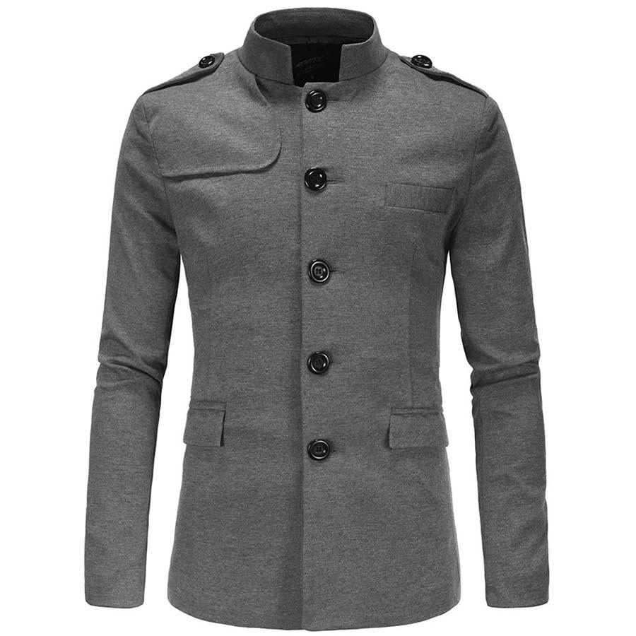 簡約單排釦中山領外套