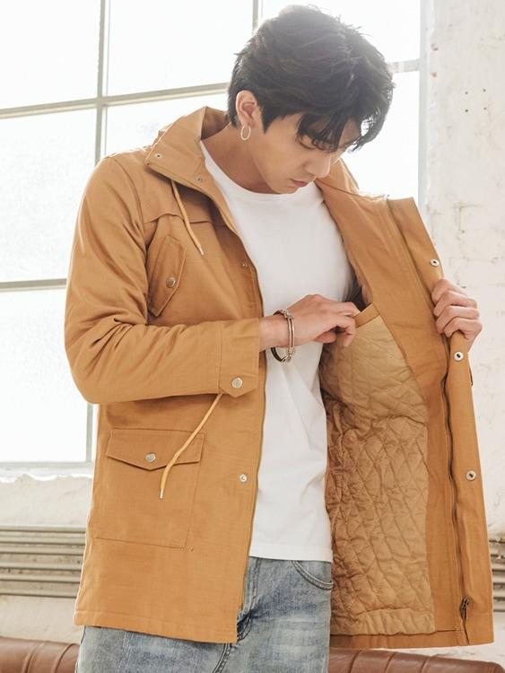 禦寒系單品.太空領設計長版鋪棉外套