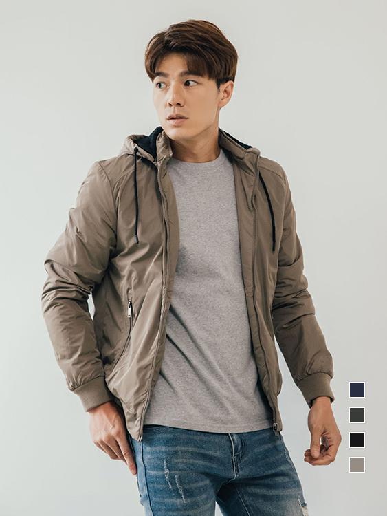 簡約時尚 防風鎖溫可拆帽鋪棉外套