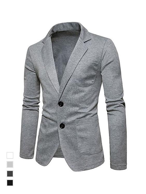 休閒風格單品.舒適彈力單排釦西裝外套