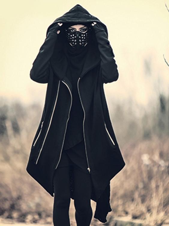 暗黑風格款.特殊剪裁長版外套