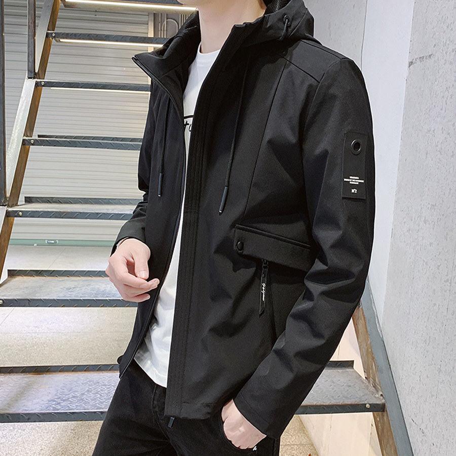 簡約主義.設計袖標連帽外套