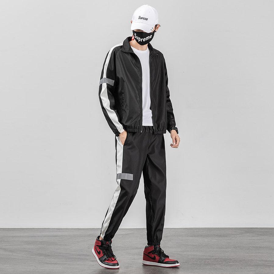 反光條設計.線條風格運動外套+長褲套裝