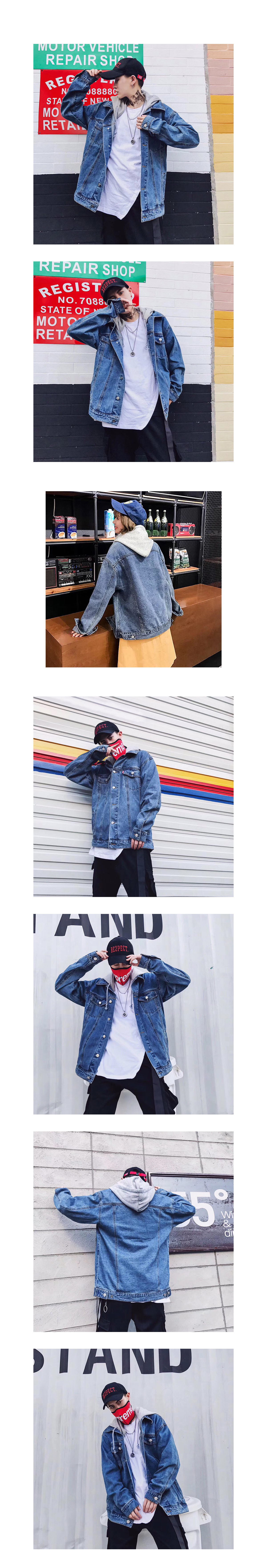 韓系風格單品.連帽落肩牛仔外套