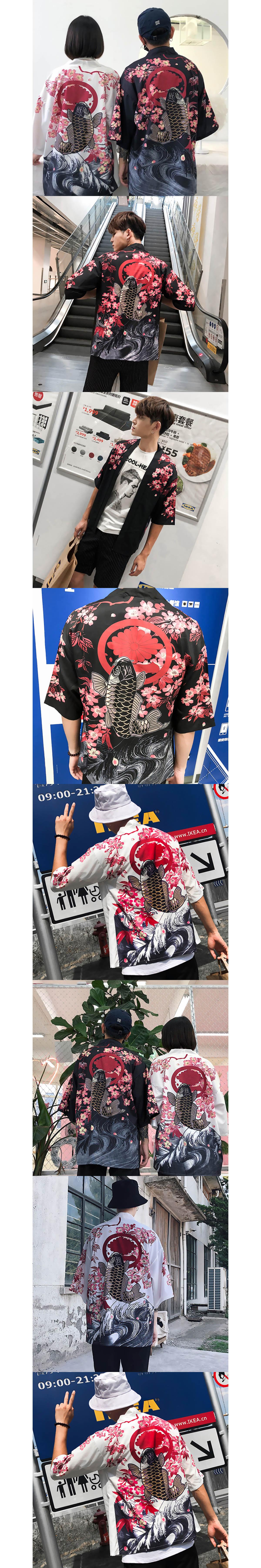【季末出清】濃濃東洋風單品.櫻花錦鯉罩衫
