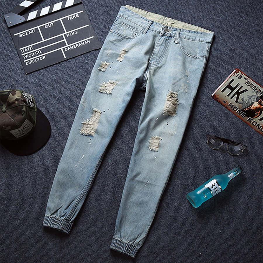 經典不敗單品.淺色潑漆刷破縮口牛仔褲,,,03010570,經典不敗單品.淺色潑漆刷破縮口牛仔褲,