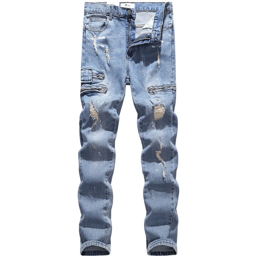 韓國製造.拉鍊設計潑漆刷破牛仔褲