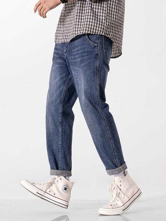 復古彈力寬鬆哈倫牛仔褲
