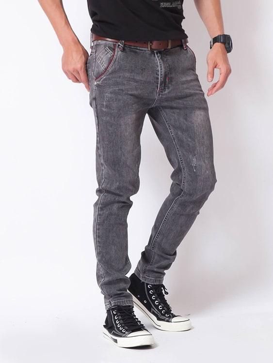 水洗灰 彈力修身牛仔褲,,,03010718,水洗灰彈力修身牛仔褲,