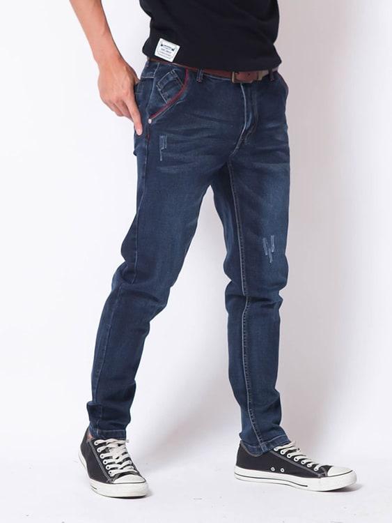 水洗藍 彈力修身牛仔褲