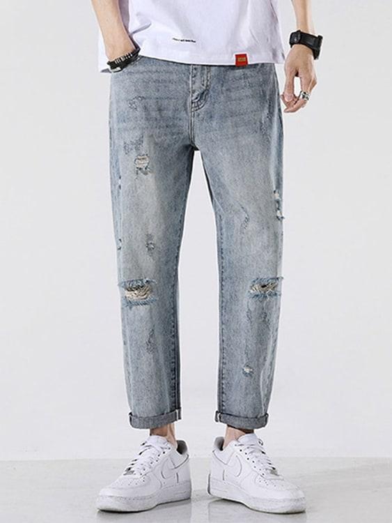 夏季清爽破洞水洗牛仔褲