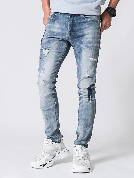 神彈補丁造型牛仔褲