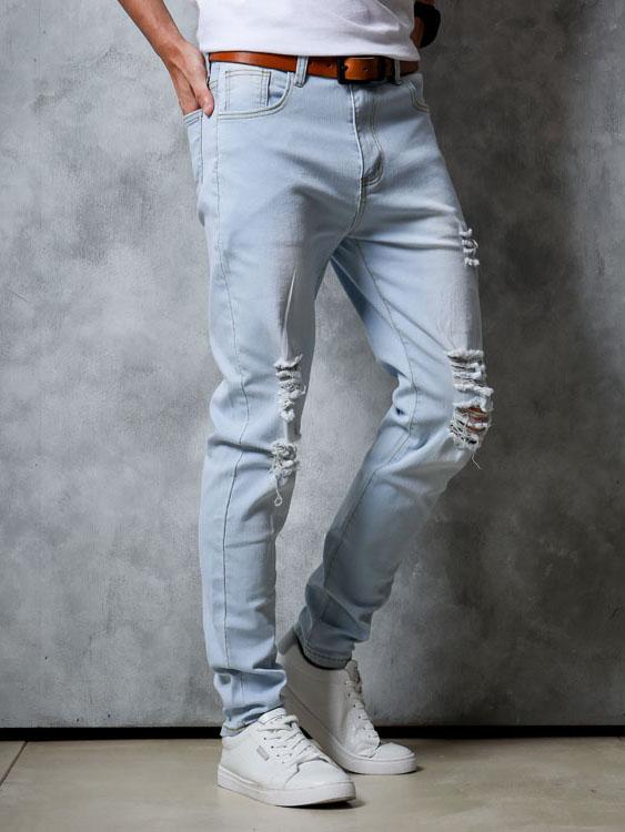 個性抓破淺色修身牛仔褲