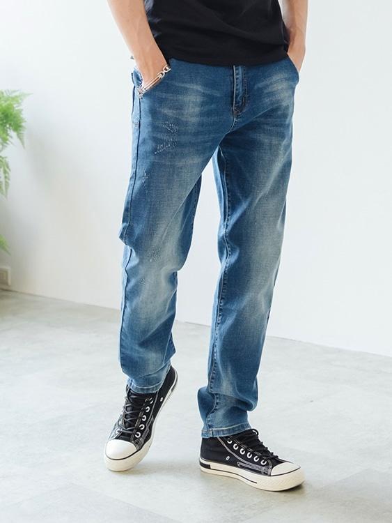 時尚水洗磨破直筒牛仔褲
