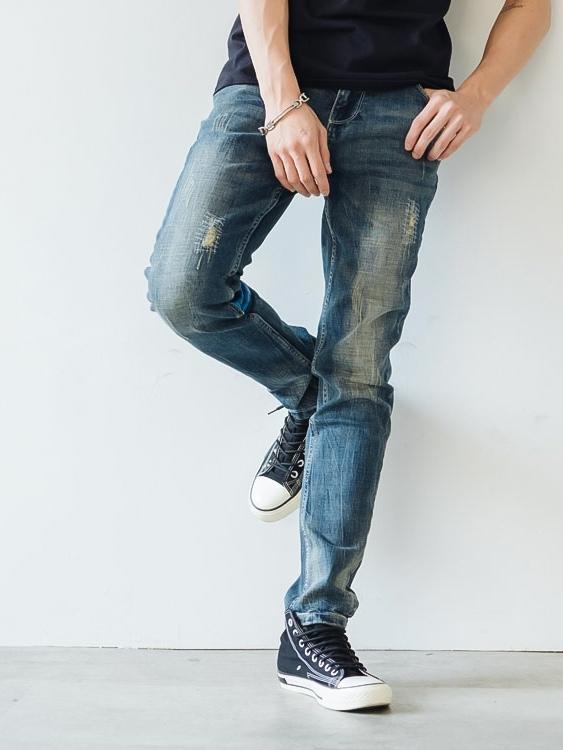 懷舊刷破水洗 藍菱圖騰小直筒牛仔褲