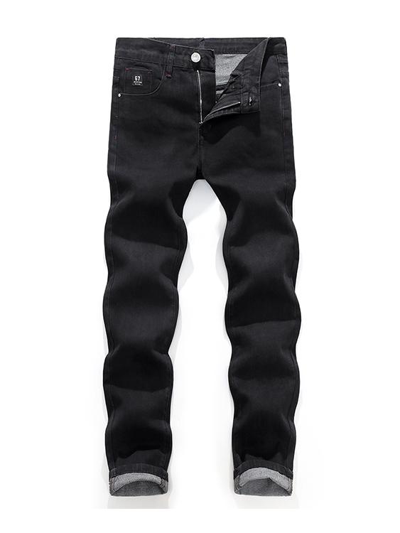 黑標造型 透氣柔軟修身牛仔褲
