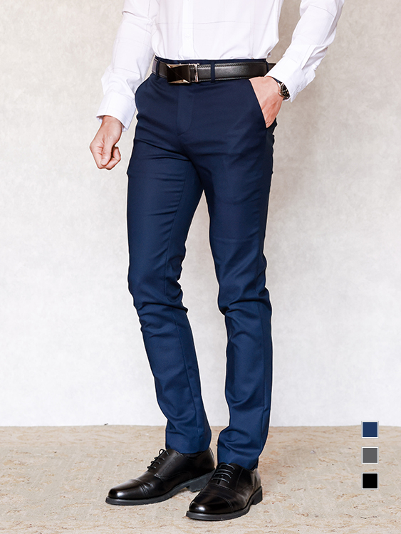 韓國製造單品.簡約窄管顯瘦設計西裝褲