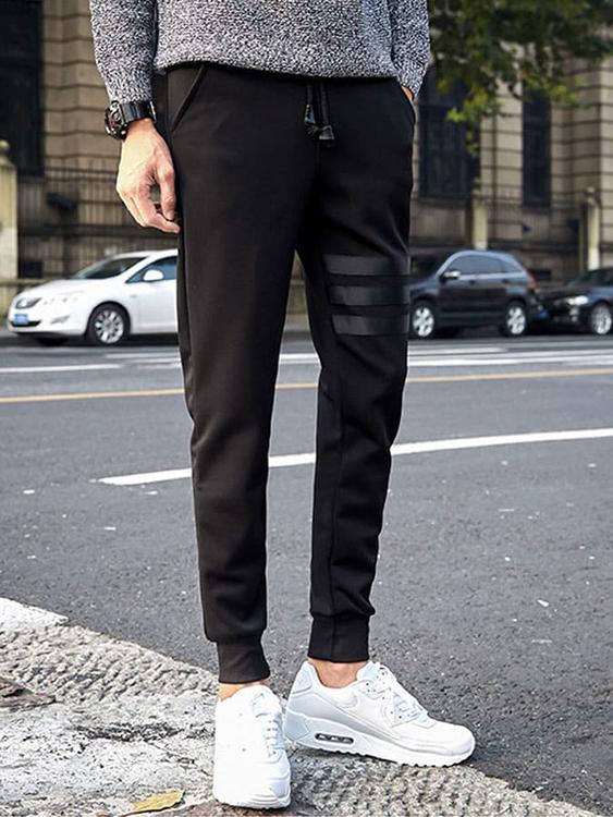韓系休閒時尚.三橫條抽繩束口褲