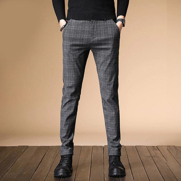 修身微彈力.格紋時尚休閒褲,,,03060272,修身微彈力.格紋時尚休閒褲,