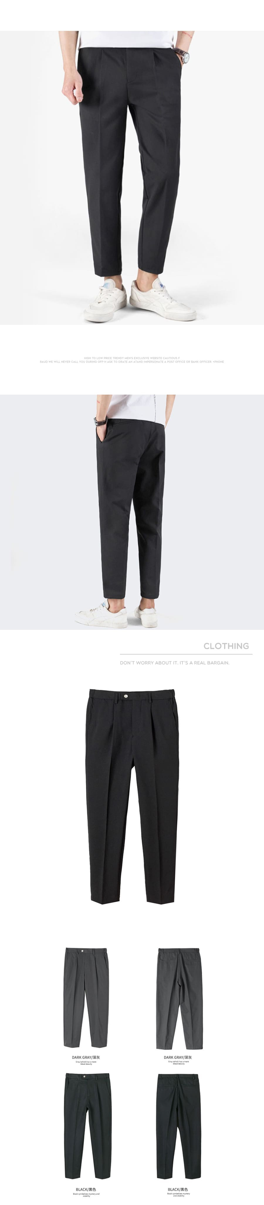 簡約時尚.腰側鬆緊舒適厚挺西裝褲