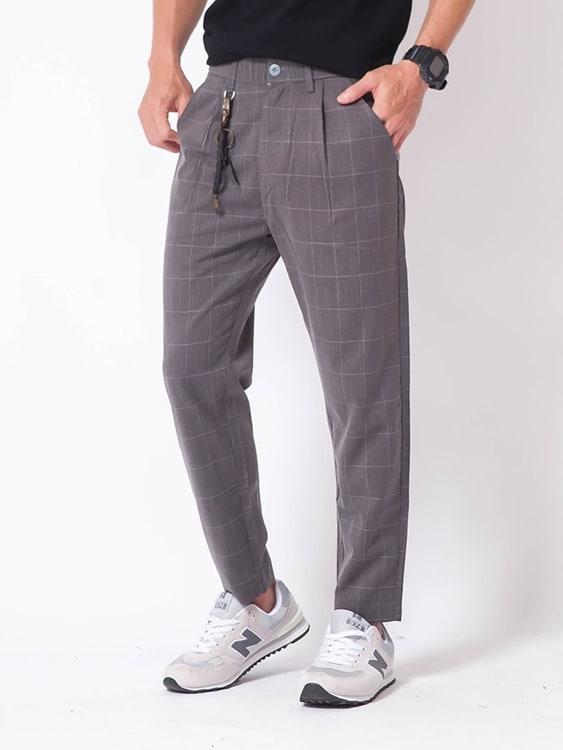 潮流格紋直筒西裝褲