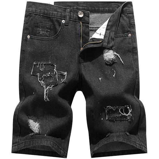 潑漆補丁刷破設計‧多色牛仔短褲‧有大碼,,,03070358,潑漆補丁刷破設計‧多色牛仔短褲‧有大碼,
