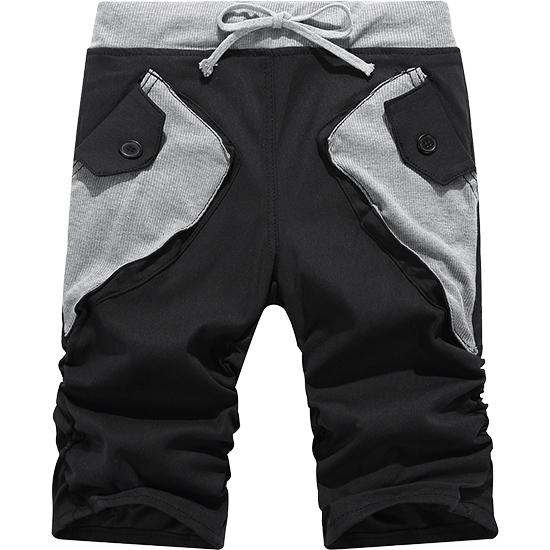 街頭型男風.拼接撞色口袋.休閒短褲,,,03070375,街頭型男風.拼接撞色口袋.休閒短褲,