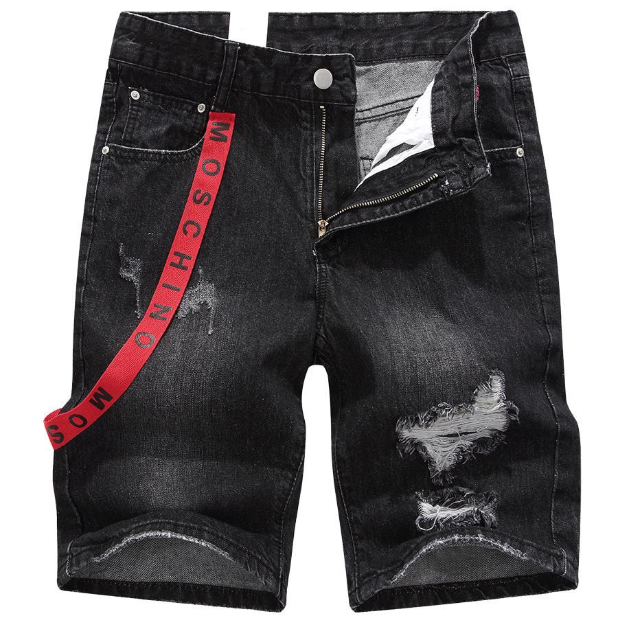 街頭運動風格單品.紅褲帶刷破牛仔短褲,,,03070629,街頭運動風格單品.紅褲帶刷破牛仔短褲,