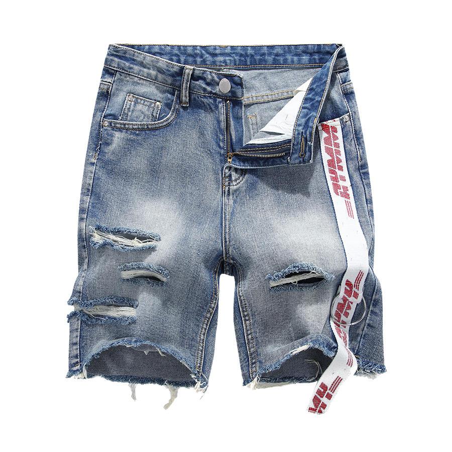 RELAX潮牌單品.造型織帶設計刷破短褲,,,03070632,RELAX潮牌單品.造型織帶設計刷破短褲,