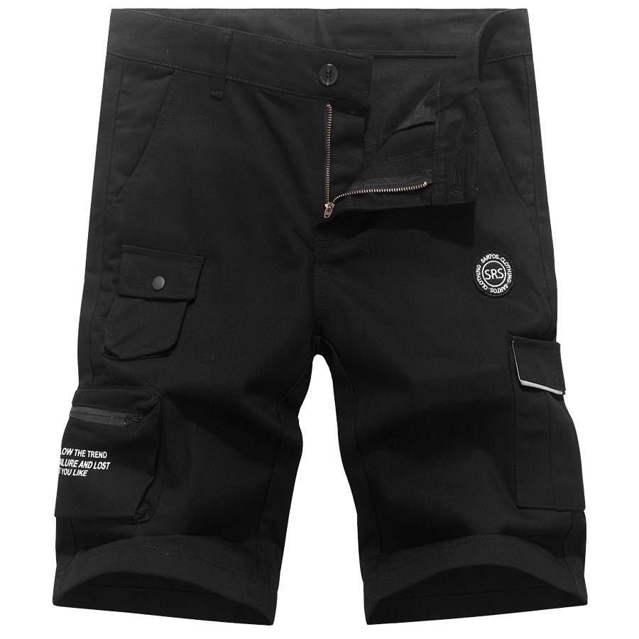 美式風格.迷彩拼接大口袋設計工作短褲,,,03070657,美式風格.迷彩拼接大口袋設計工作短褲,