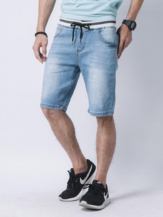 舒適好穿.彈性褲頭牛仔短褲