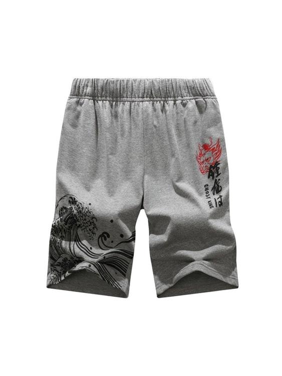 鬼王鍾馗系列.日系風格海浪圖騰棉質短褲