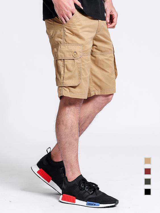 純色寬鬆.直筒工裝短褲